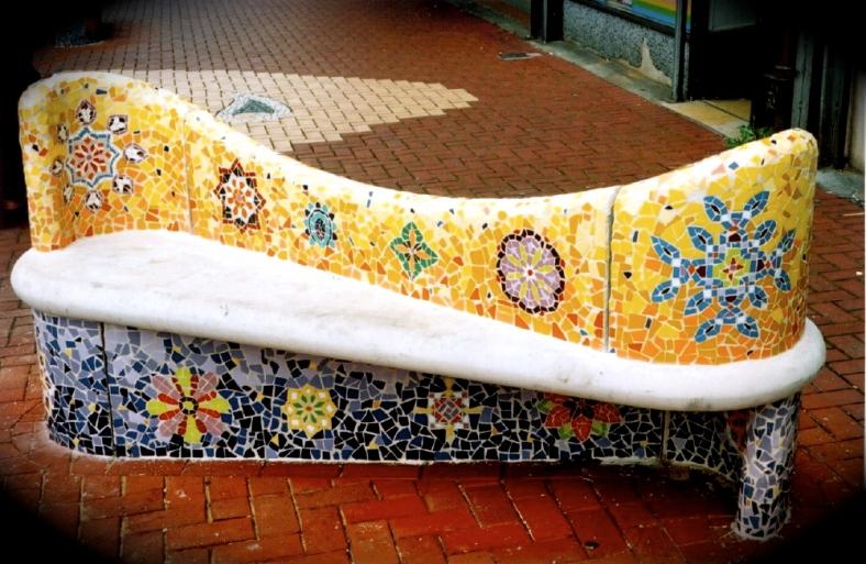 Bench with sari motifs