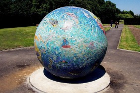 Sculptural Mosaic Globe Southall Park - Ealing London UK